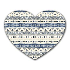 Native American Ornaments Watercolor Pattern Blue Heart Mousepads