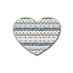 Native American Ornaments Watercolor Pattern Blue Heart Coaster (4 Pack)  by EDDArt