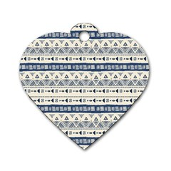 Native American Ornaments Watercolor Pattern Blue Dog Tag Heart (one Side)