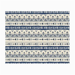 Native American Ornaments Watercolor Pattern Blue Small Glasses Cloth (2 Side)