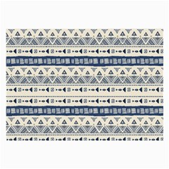 Native American Ornaments Watercolor Pattern Blue Large Glasses Cloth (2 Side)