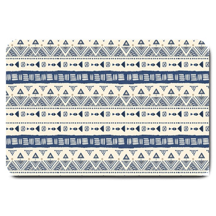 Native American Ornaments Watercolor Pattern Blue Large Doormat