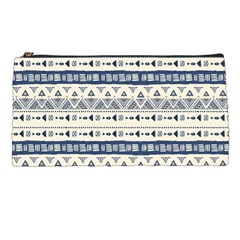 Native American Ornaments Watercolor Pattern Blue Pencil Cases by EDDArt
