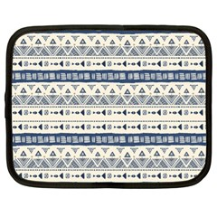 Native American Ornaments Watercolor Pattern Blue Netbook Case (xl)  by EDDArt
