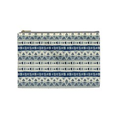 Native American Ornaments Watercolor Pattern Blue Cosmetic Bag (medium)