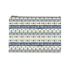 Native American Ornaments Watercolor Pattern Blue Cosmetic Bag (large) by EDDArt