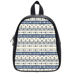 Native American Ornaments Watercolor Pattern Blue School Bag (small) by EDDArt