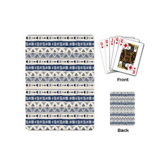 Native American Ornaments Watercolor Pattern Blue Playing Cards (mini)