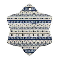 Native American Ornaments Watercolor Pattern Blue Snowflake Ornament (two Sides) by EDDArt