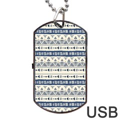 Native American Ornaments Watercolor Pattern Blue Dog Tag Usb Flash (two Sides) by EDDArt