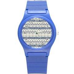 Native American Ornaments Watercolor Pattern Blue Round Plastic Sport Watch (s) by EDDArt