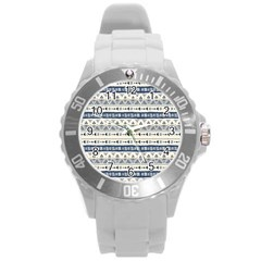 Native American Ornaments Watercolor Pattern Blue Round Plastic Sport Watch (l)