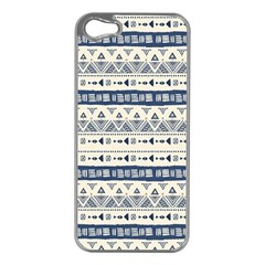 Native American Ornaments Watercolor Pattern Blue Apple Iphone 5 Case (silver) by EDDArt