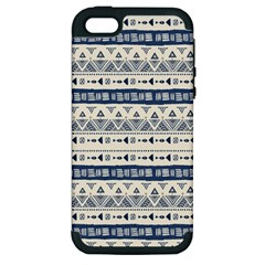 Native American Ornaments Watercolor Pattern Blue Apple Iphone 5 Hardshell Case (pc+silicone) by EDDArt