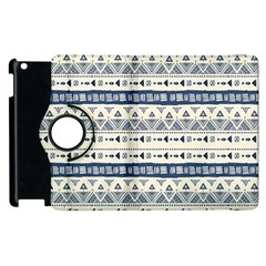 Native American Ornaments Watercolor Pattern Blue Apple Ipad 2 Flip 360 Case