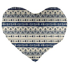 Native American Ornaments Watercolor Pattern Blue Large 19  Premium Heart Shape Cushions by EDDArt