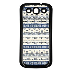 Native American Ornaments Watercolor Pattern Blue Samsung Galaxy S3 Back Case (black) by EDDArt