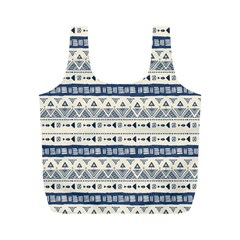 Native American Ornaments Watercolor Pattern Blue Full Print Recycle Bags (m)