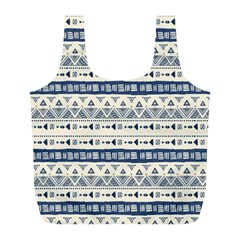 Native American Ornaments Watercolor Pattern Blue Full Print Recycle Bags (l)