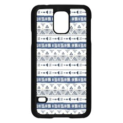 Native American Ornaments Watercolor Pattern Blue Samsung Galaxy S5 Case (black) by EDDArt
