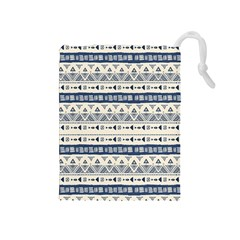 Native American Ornaments Watercolor Pattern Blue Drawstring Pouches (medium)