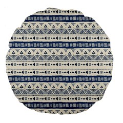 Native American Ornaments Watercolor Pattern Blue Large 18  Premium Flano Round Cushions