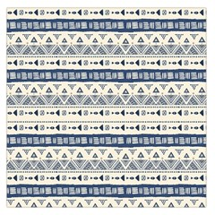 Native American Ornaments Watercolor Pattern Blue Large Satin Scarf (square)