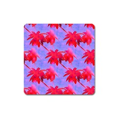Palm Trees Neon Nights Square Magnet by CrypticFragmentsColors