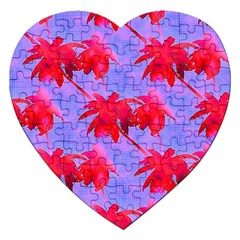 Palm Trees Neon Nights Jigsaw Puzzle (heart) by CrypticFragmentsColors