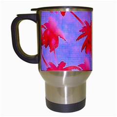Palm Trees Neon Nights Travel Mugs (white) by CrypticFragmentsColors