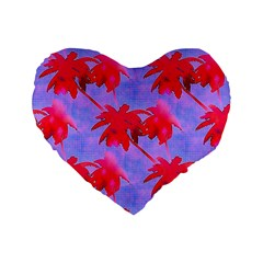 Palm Trees Neon Nights Standard 16  Premium Heart Shape Cushions by CrypticFragmentsColors