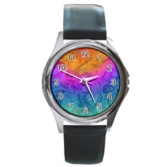 Fractal Batik Art Hippie Rainboe Colors 1 Round Metal Watch