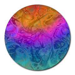 Fractal Batik Art Hippie Rainboe Colors 1 Round Mousepads