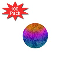 Fractal Batik Art Hippie Rainboe Colors 1 1  Mini Buttons (100 Pack)