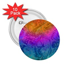 Fractal Batik Art Hippie Rainboe Colors 1 2 25  Buttons (10 Pack)