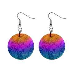Fractal Batik Art Hippie Rainboe Colors 1 Mini Button Earrings by EDDArt