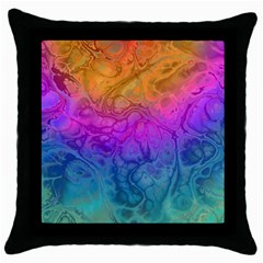 Fractal Batik Art Hippie Rainboe Colors 1 Throw Pillow Case (black) by EDDArt