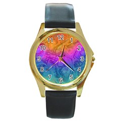 Fractal Batik Art Hippie Rainboe Colors 1 Round Gold Metal Watch