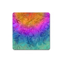 Fractal Batik Art Hippie Rainboe Colors 1 Square Magnet