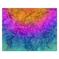 Fractal Batik Art Hippie Rainboe Colors 1 Rectangular Jigsaw Puzzl by EDDArt
