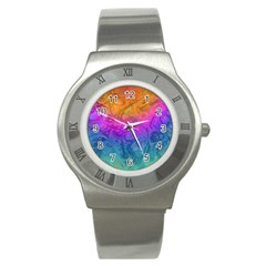 Fractal Batik Art Hippie Rainboe Colors 1 Stainless Steel Watch by EDDArt