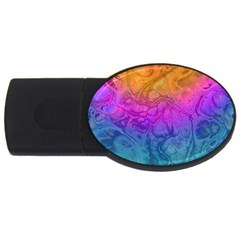 Fractal Batik Art Hippie Rainboe Colors 1 Usb Flash Drive Oval (4 Gb) by EDDArt