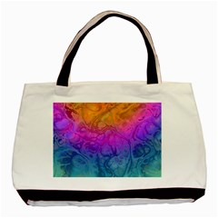 Fractal Batik Art Hippie Rainboe Colors 1 Basic Tote Bag by EDDArt