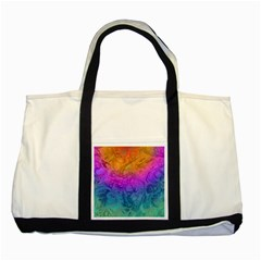 Fractal Batik Art Hippie Rainboe Colors 1 Two Tone Tote Bag