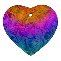 Fractal Batik Art Hippie Rainboe Colors 1 Heart Ornament (two Sides)