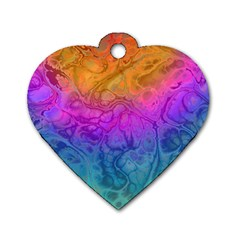 Fractal Batik Art Hippie Rainboe Colors 1 Dog Tag Heart (two Sides) by EDDArt