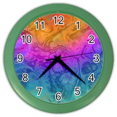 Fractal Batik Art Hippie Rainboe Colors 1 Color Wall Clock