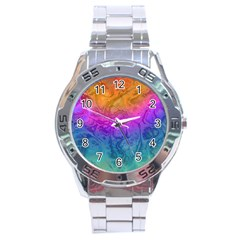 Fractal Batik Art Hippie Rainboe Colors 1 Stainless Steel Analogue Watch