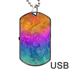Fractal Batik Art Hippie Rainboe Colors 1 Dog Tag Usb Flash (one Side)