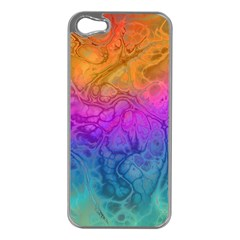 Fractal Batik Art Hippie Rainboe Colors 1 Apple Iphone 5 Case (silver) by EDDArt
